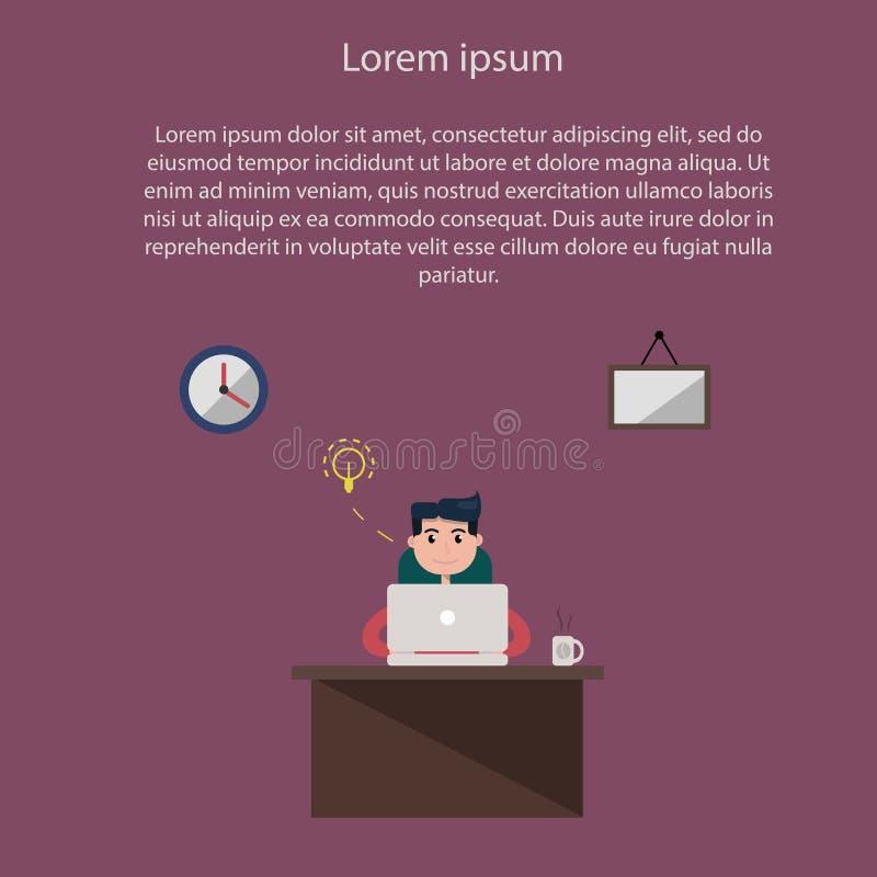 Empresaria joven que se sienta y que trabaja en el ordenador portátil Trabaja independientemente el trabajo, concepto de Minister ilustración del vector