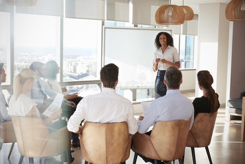 Empresaria Making Presentation Shot a través de la entrada foto de archivo libre de regalías