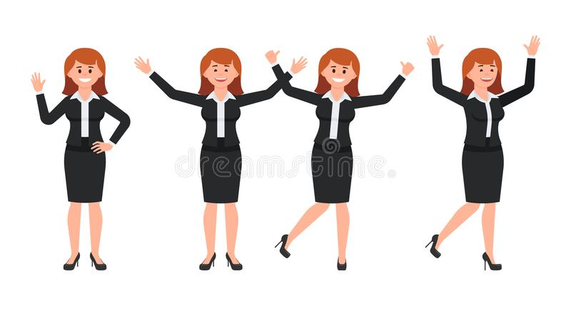 Empresaria muy feliz en personaje de dibujos animados negro del traje Vector el ejemplo del vendedor femenino elegante en diversa libre illustration