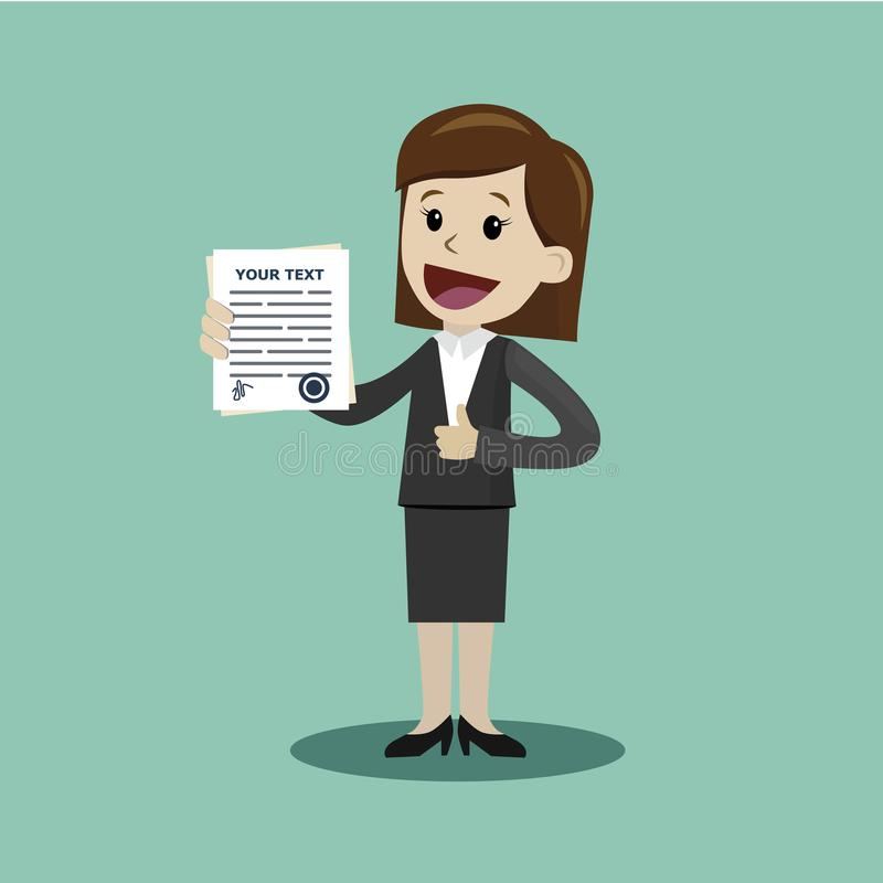Empresaria o encargado que lleva a cabo un contrato u otro documento con la firma Feliz, sonrisa stock de ilustración