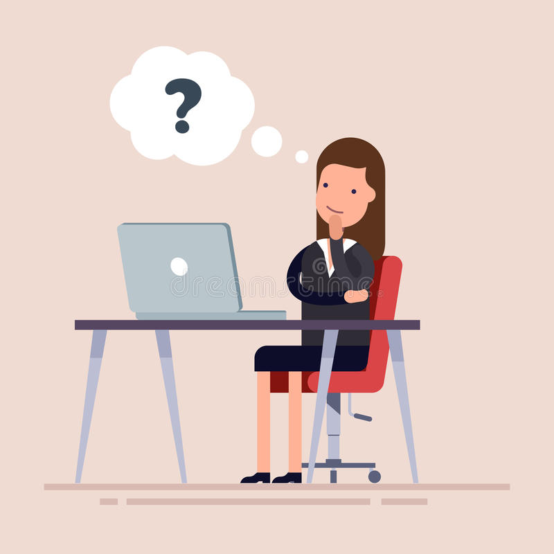 Empresaria o un empleado que se sienta con el ordenador portátil y el pensamiento Empresaria confusa que toma la decisión Problem libre illustration