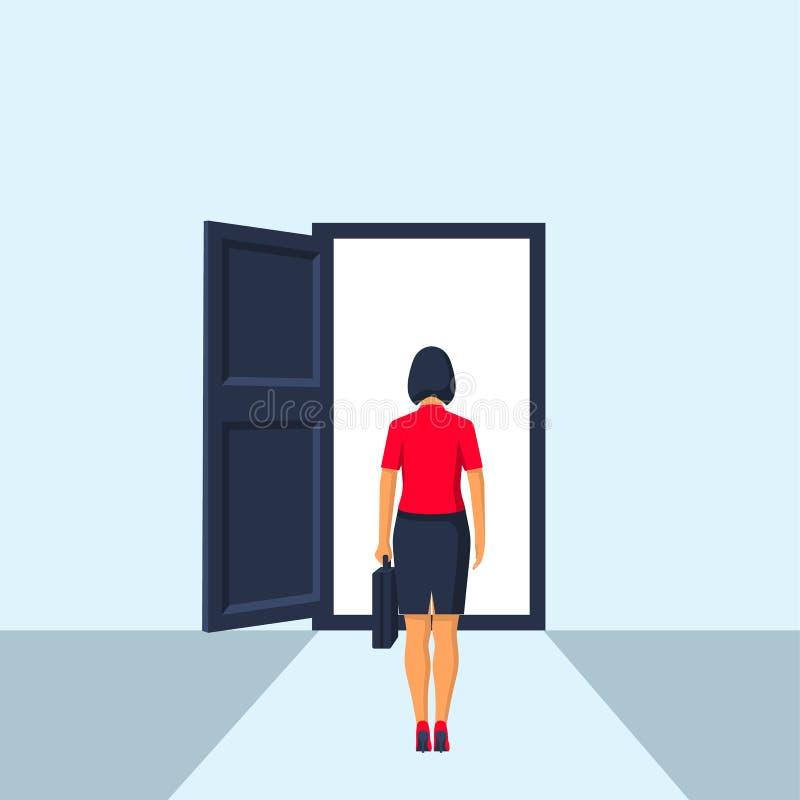 Empresaria que camina a la puerta abierta ilustración del vector
