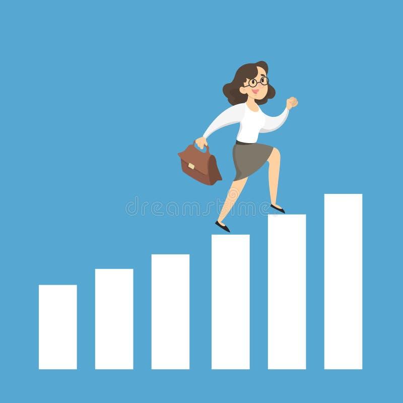 Empresaria que corre en carta stock de ilustración