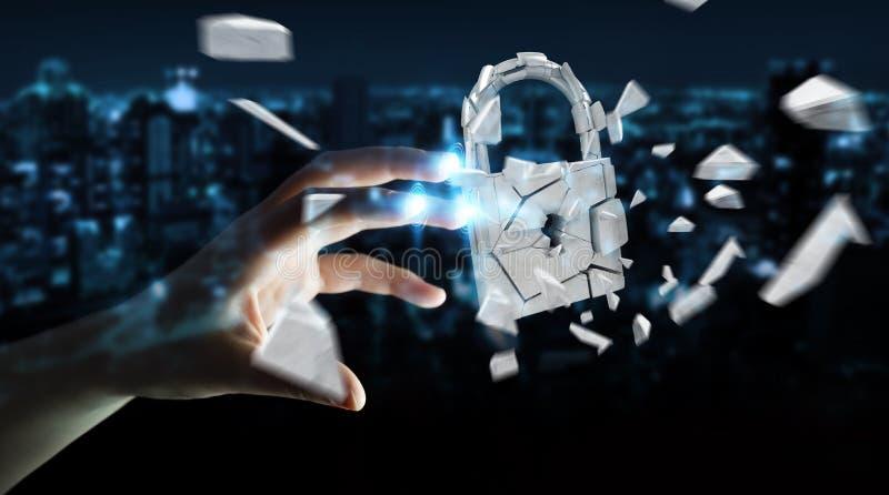 Empresaria que corta en la representación quebrada de la seguridad 3D del candado ilustración del vector