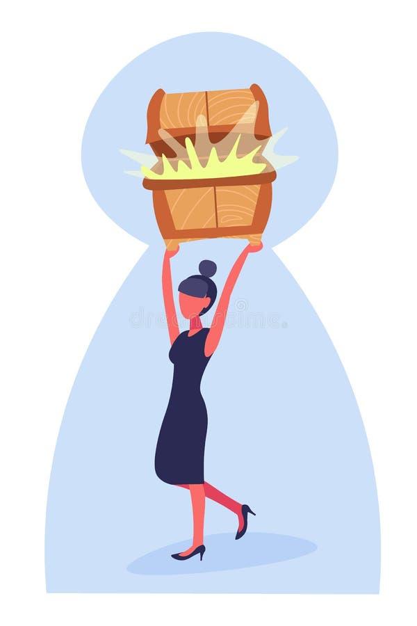 Empresaria que detiene a la mujer de negocios de oro llena del fondo del ojo de la cerradura del concepto de la riqueza del creci libre illustration