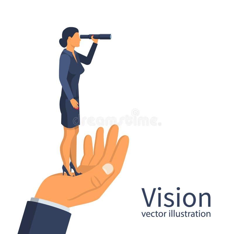 Empresaria que mira en el telescopio que se coloca en la mano grande libre illustration