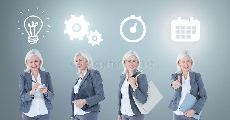 Empresaria que piensa en orden con ideas e iconos de proceso del intercambio de ideas imagenes de archivo