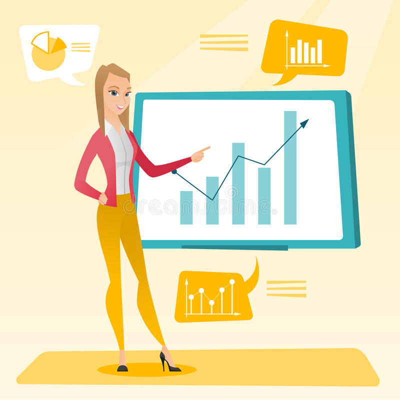 Empresaria que presenta el comentario de datos financieros libre illustration