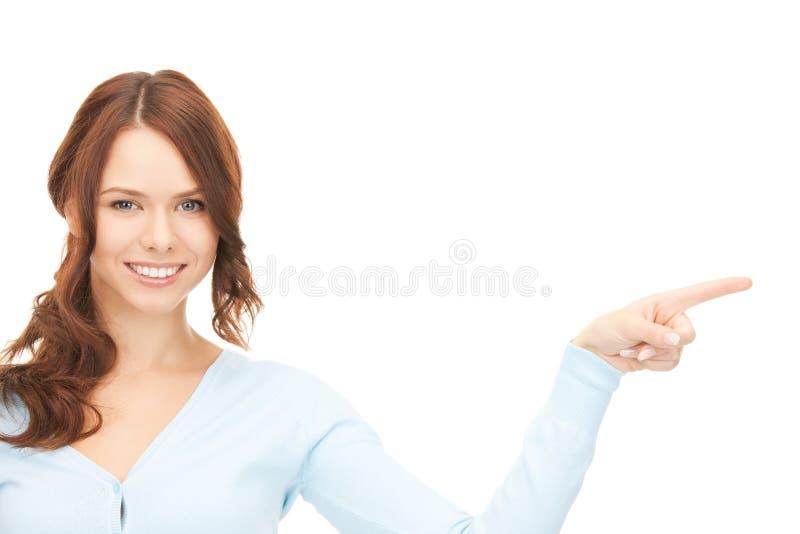 Empresaria que señala su dedo foto de archivo libre de regalías