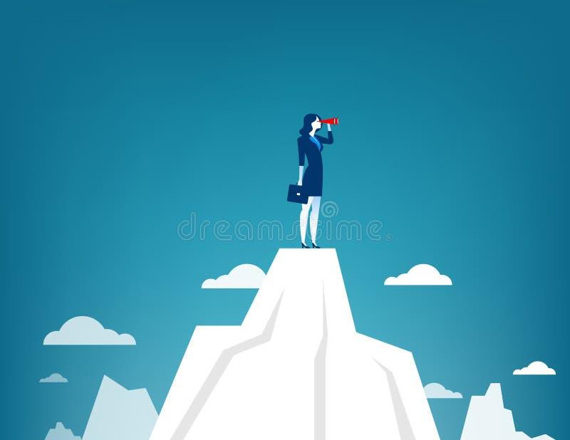 Empresaria que se coloca encima de la montaña usando el telescopio ilustración del vector