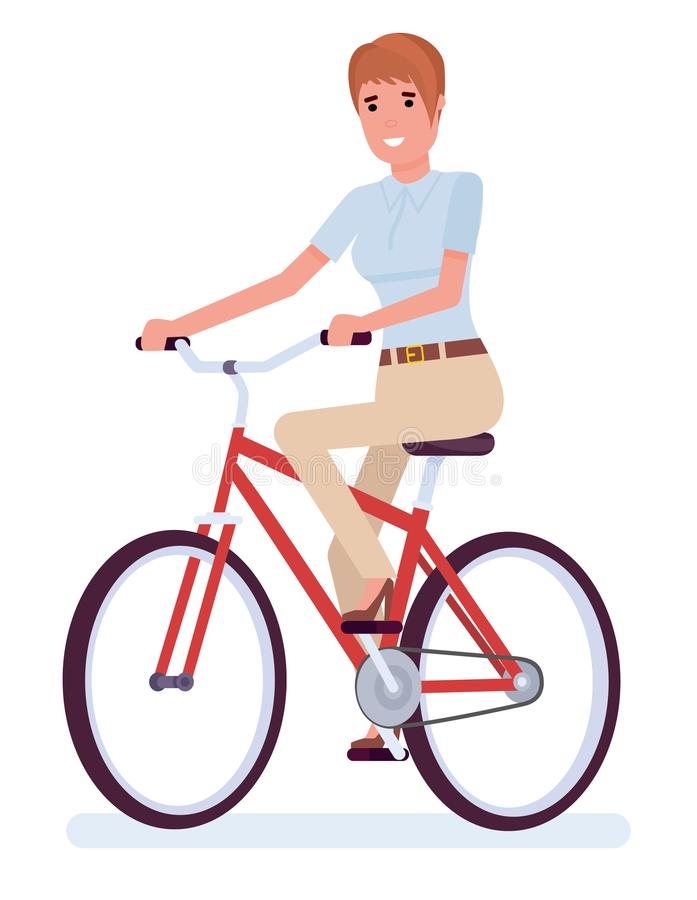 Empresaria que se sienta al lado de la bici, tiempo de verano Vector el ejemplo plano del diseño de la historieta aislado en el f ilustración del vector