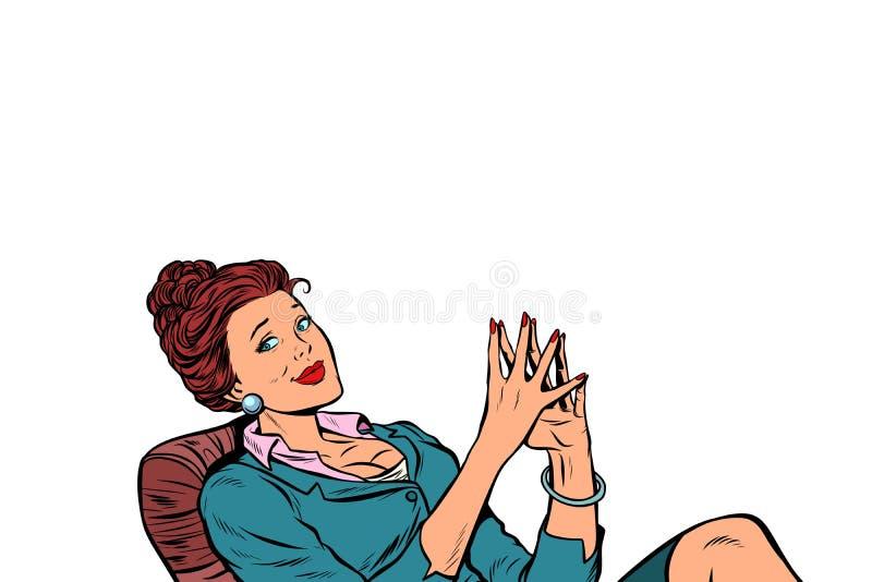 Empresaria que se sienta en la tabla relajada stock de ilustración