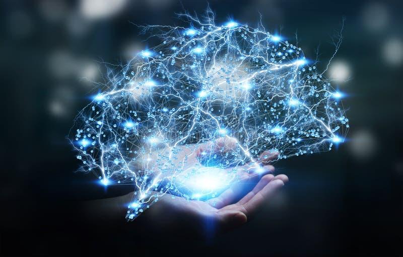 Empresaria que sostiene el cerebro humano de la radiografía digital en su mano 3D r libre illustration