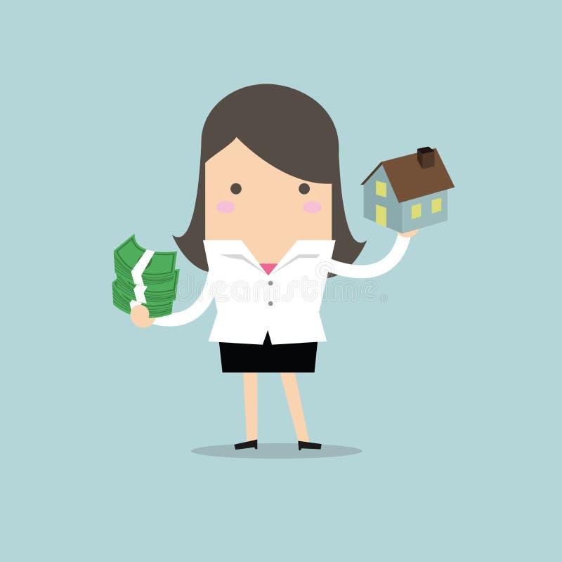 Empresaria que sostiene la casa y el dinero stock de ilustración