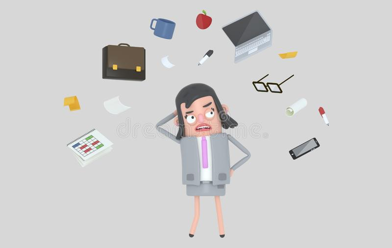 Empresaria que subraya mirando los accesorios de la oficina Aislado ilustración del vector