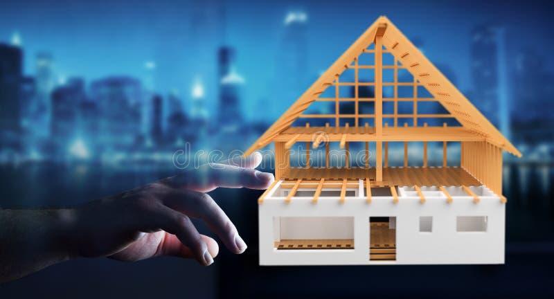 Empresaria que toca 3D que rinde la casa inacabada del plan con h ilustración del vector