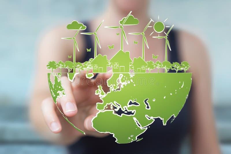 Empresaria que toca y que lleva a cabo bosquejo de la energía renovable libre illustration