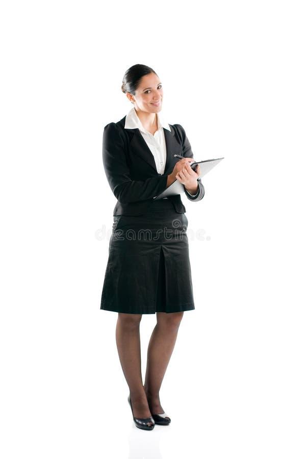 Empresaria que toma notas fotografía de archivo