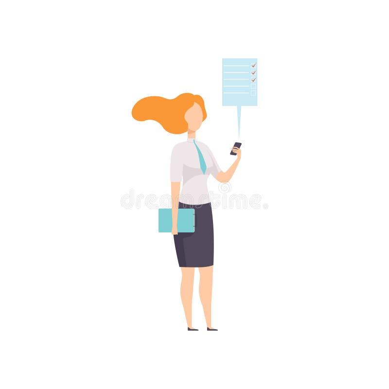 Empresaria que trabaja con el documento usando el teléfono móvil app, carácter acertado del negocio en el ejemplo del vector del  ilustración del vector