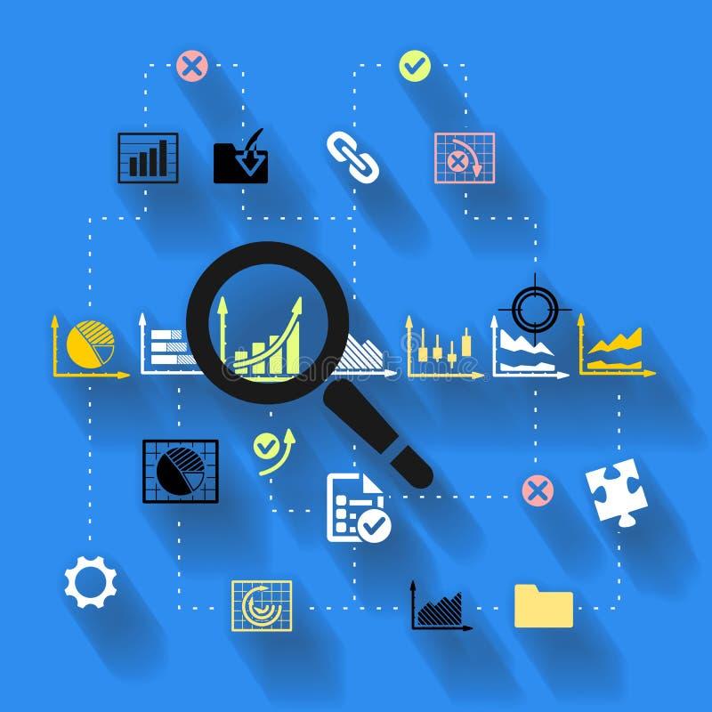Empresaria que trabaja con informes financieros ilustración del vector