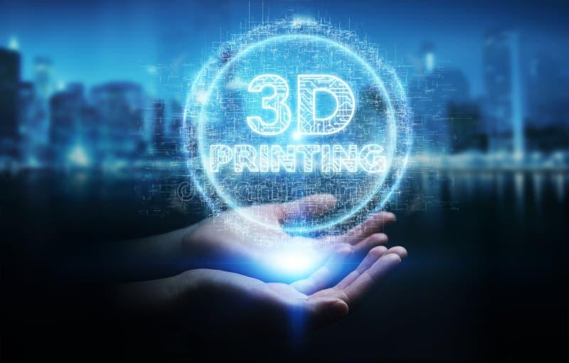 Empresaria que usa 3D que imprime la representación digital del holograma 3D stock de ilustración