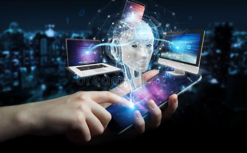 Empresaria que usa el humanoid blanco que controla los dispositivos modernos 3D libre illustration