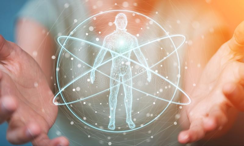 Empresaria que usa el interfaz digital 3D r de la exploración del cuerpo humano de la radiografía stock de ilustración