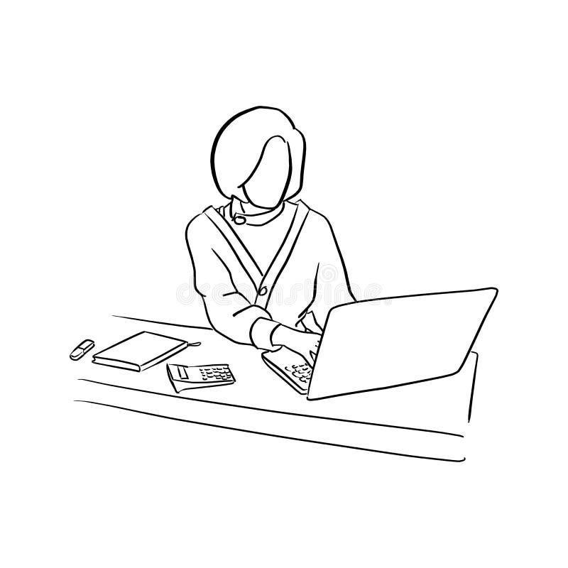 Empresaria que usa el ordenador portátil del cuaderno del ordenador en su vector del escritorio ilustración del vector