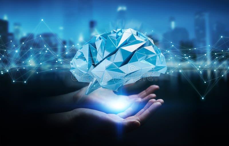 Empresaria que usa el rende digital del interfaz 3D del cerebro humano de la radiografía stock de ilustración
