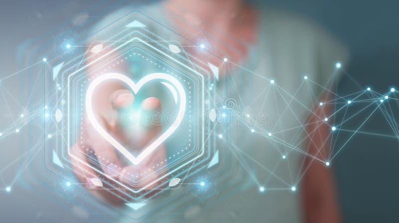 Empresaria que usa el uso de la datación para encontrar el amor 3D en línea con referencia a libre illustration