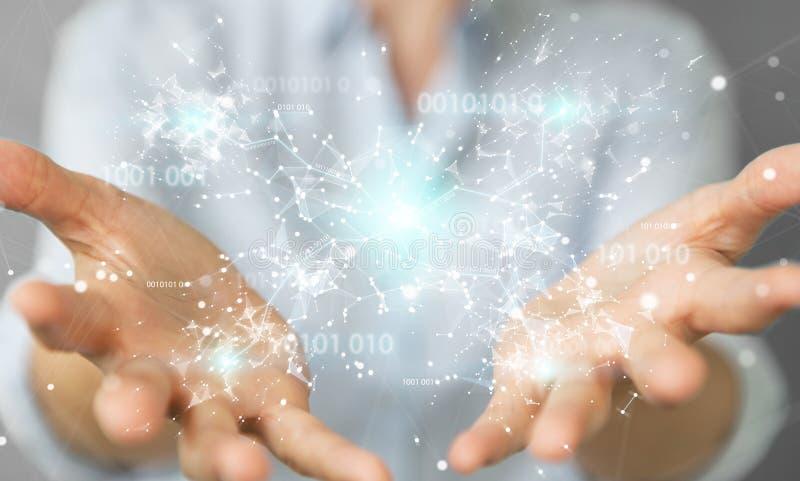 Empresaria que usa la red digital 3D de la conexión del código binario con referencia a ilustración del vector