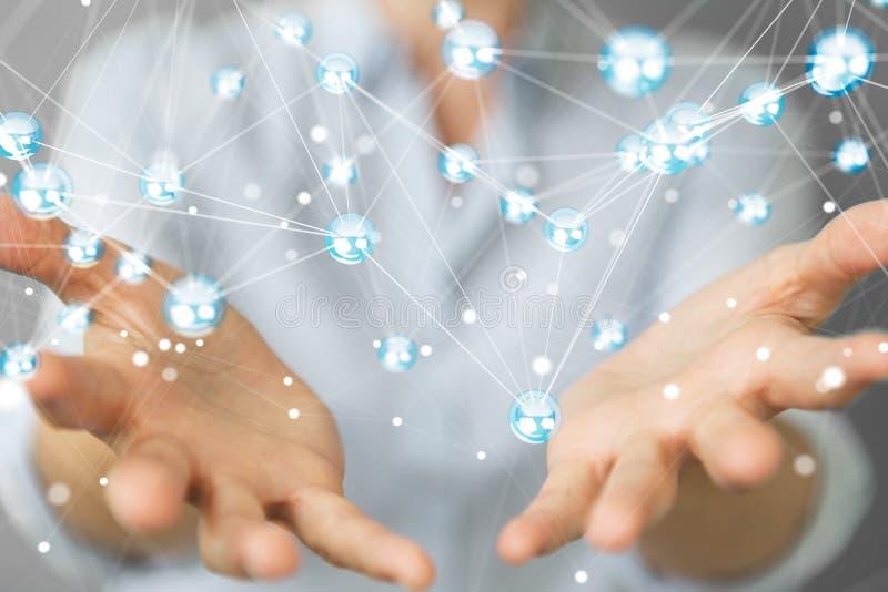 Empresaria que usa la representación de la conexión 3D de las bolas de la red del vuelo stock de ilustración