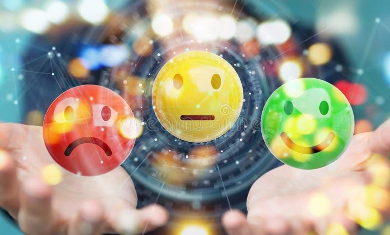 Empresaria que usa la representación del grado de satisfacción del cliente 3D stock de ilustración