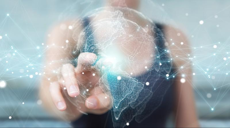 Empresaria que usa la representación del interfaz 3D del mapa del mundo de los E.E.U.U. stock de ilustración