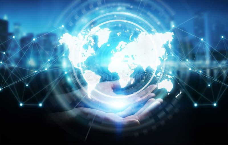Empresaria que usa la representación digital del interfaz 3D del mapa del mundo ilustración del vector