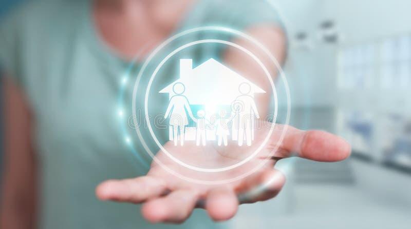 Empresaria que usa renderi del uso 3D del seguro del cuidado de la familia ilustración del vector