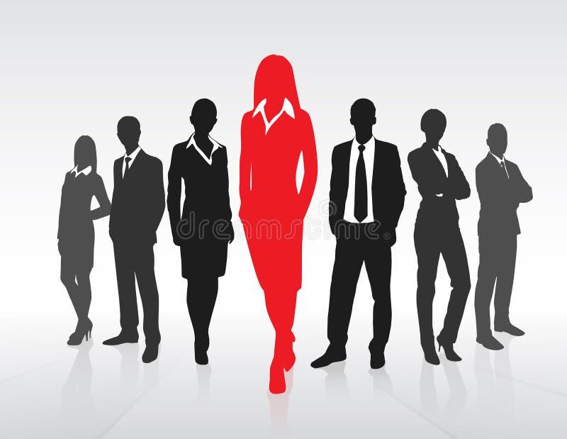 Empresaria roja Silhouette, negocio negro stock de ilustración