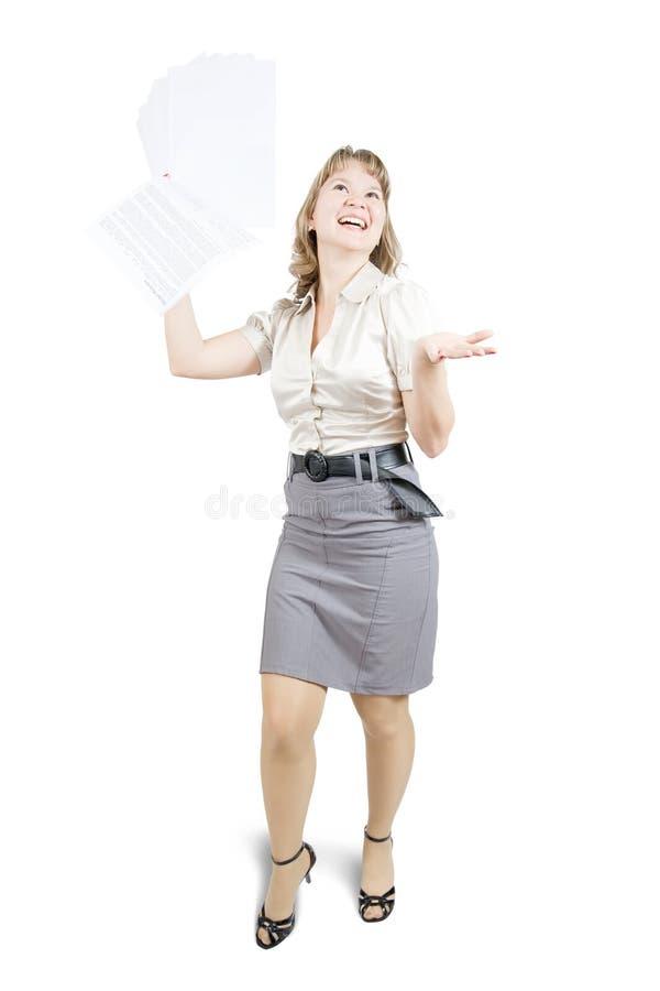 Empresaria rubia con los documentos fotos de archivo