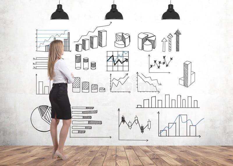 Empresaria rubia que mira gráficos ilustración del vector