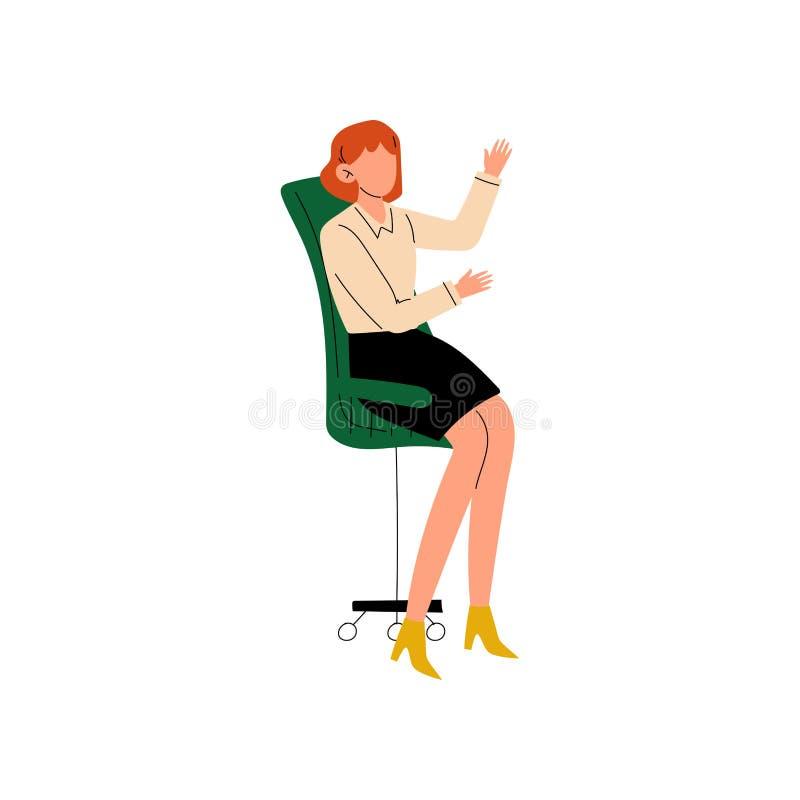 Empresaria Sitting en silla de la oficina, secretaria, ayudante personal, mujer joven profesional que trabaja en vector de la ofi ilustración del vector