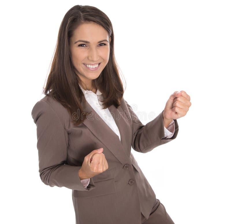 Empresaria sonriente acertada aislada en el vestido marrón - caree imagen de archivo libre de regalías