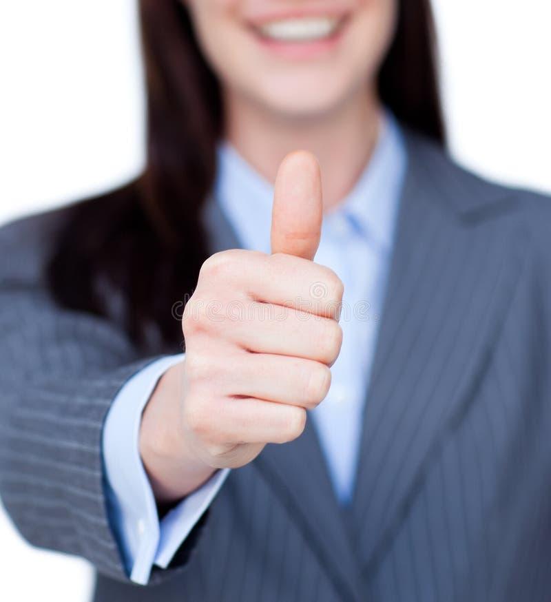 Empresaria sonriente con el pulgar para arriba foto de archivo libre de regalías