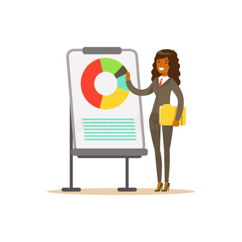 Empresaria sonriente en un traje que señala en un whiteboard con la carta en una presentación, ejemplo del vector ilustración del vector