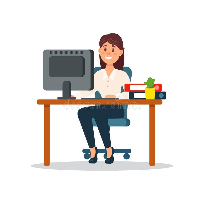 Empresaria sonriente que se sienta en el escritorio que trabaja con el ordenador, carácter del negocio que trabaja en vector de l stock de ilustración