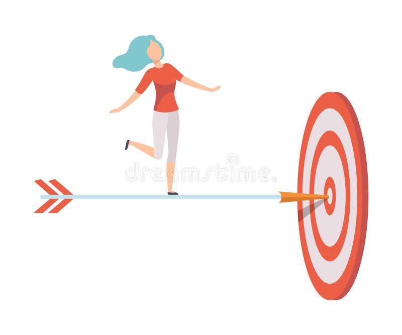 Empresaria Standing en la flecha del dardo para alcanzar la meta de negocio, mujer joven que va al centro del ejemplo del vector  stock de ilustración