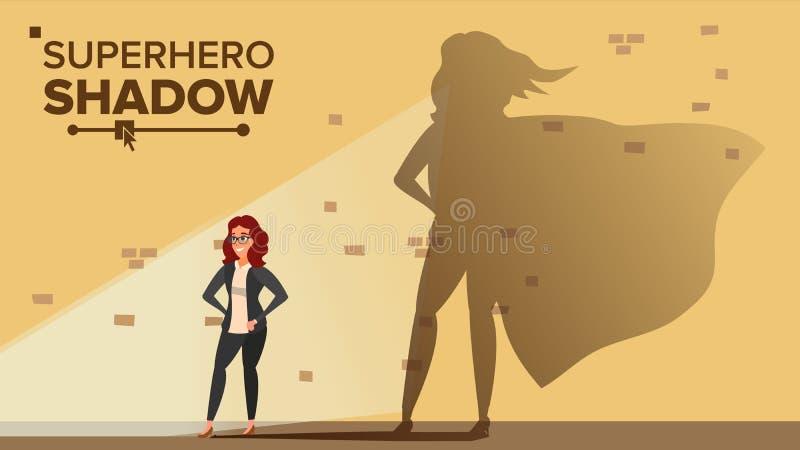 Empresaria Superhero Shadow Vector Emancipación, ambición, éxito Concepto de la dirección Negocio moderno creativo ilustración del vector