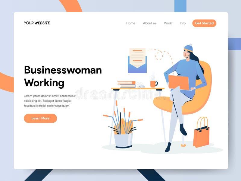 Empresaria Working en concepto del ejemplo del escritorio r libre illustration