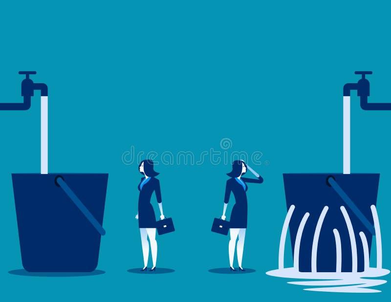 Empresaria y cubo que se escapa Contraste entre el negocio Vec stock de ilustración