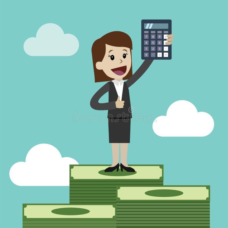 Empresaria y mujer de negocios con la calculadora Uso como la presentación del negocio, el informe financiero o diseño del anunci ilustración del vector