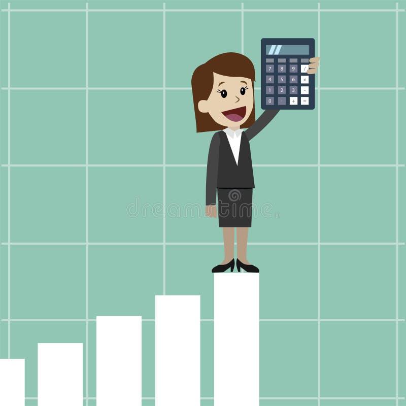 Empresaria y mujer de negocios con la calculadora Uso como la presentación del negocio, el informe financiero o diseño del anunci libre illustration
